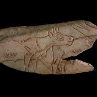 Fragment of decorated reindeer metatarsal (bone) engraved on the obverse surface with two reindeer, decorated. Palaeolithic. Madeleine, France; Copyright of The Trustees of the British Museum