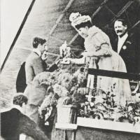 Queen Mary presents a medal