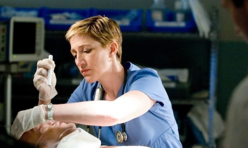 Edie Falco as Nurse Jackie, dedicated nurse and serial rule-breaker
