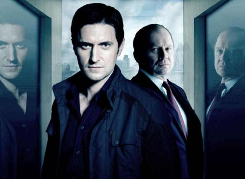 Richard Armitage as Lucas North (left) with Spooks supremo Harry Pearce (Peter Firth)