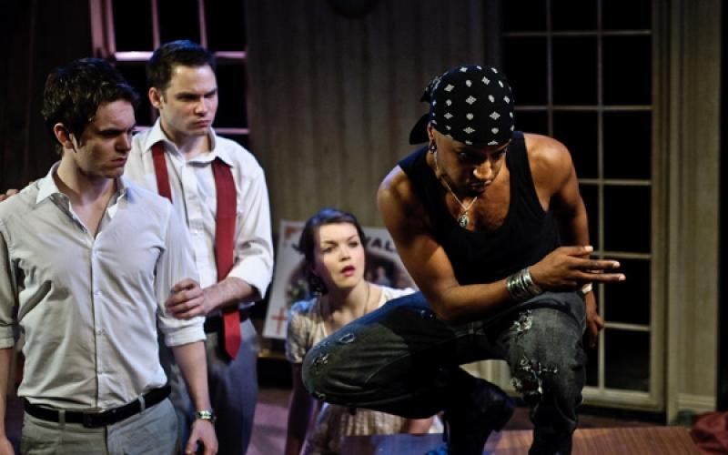 Unforgettably teenage in every way: Sean Verey, Bradley Taylor, Emily Plumtree and Beru Tessema in Moonfleece