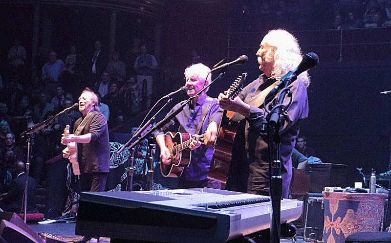 Love the ones you're with: Stephen Stills (left), Graham Nash and David Crosby at the Albert Hall