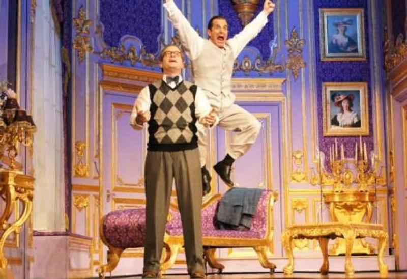 Yes he can: Damian Humbley's Max Garber finds the tenor within while Michael Matus's Tito Merelli leaps for joy