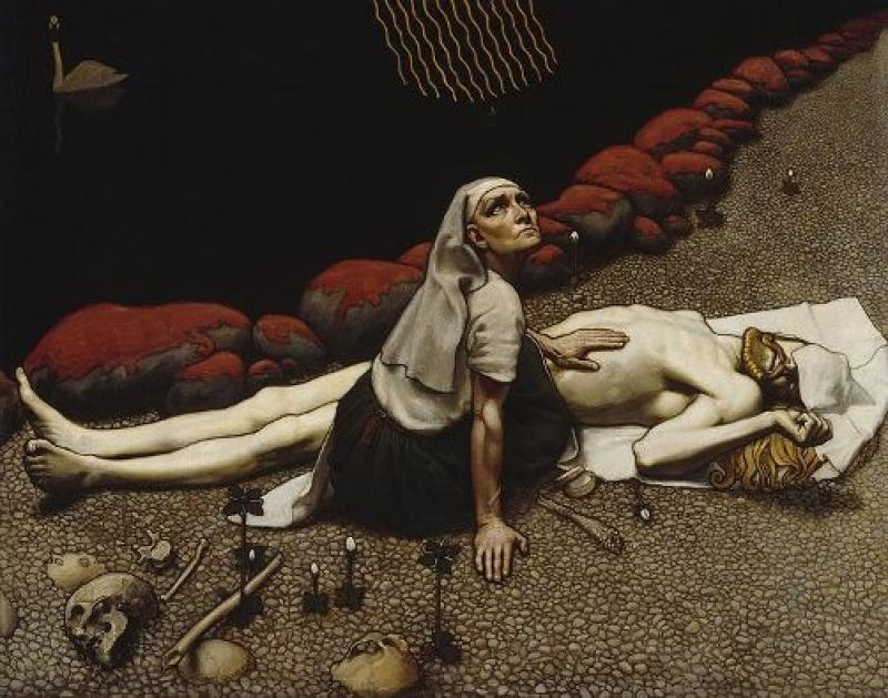 Akseli Gallen-Kallela's depiction of hero Lemminkäinen mourned by his mother, illustrated in ruggedly original music by Sibelius