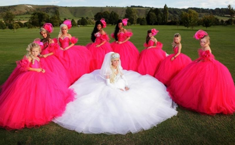 Bridget the fairy-tale bride, surrounded by her retinue of bridesmaids