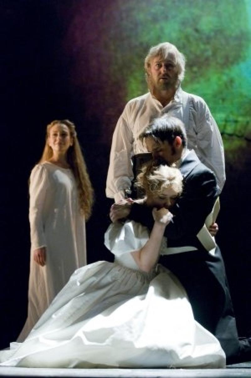 Enlightenment: John Owen-Jones (standing, right), transfigured, as Victor Hugo's Jean Valjean
