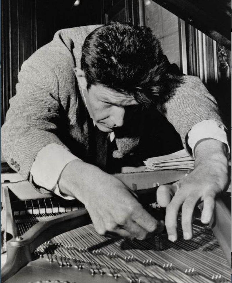 John Cage preparing a piano: 'My mind was always drawn back to the unforgettable metallic clatter of the Cage, which after the initial roar took on the shape of a fanfare'
