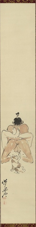 Kawanabe Kyosai, One of Three comic shunga paintings (detail), c. 1871 - 1889