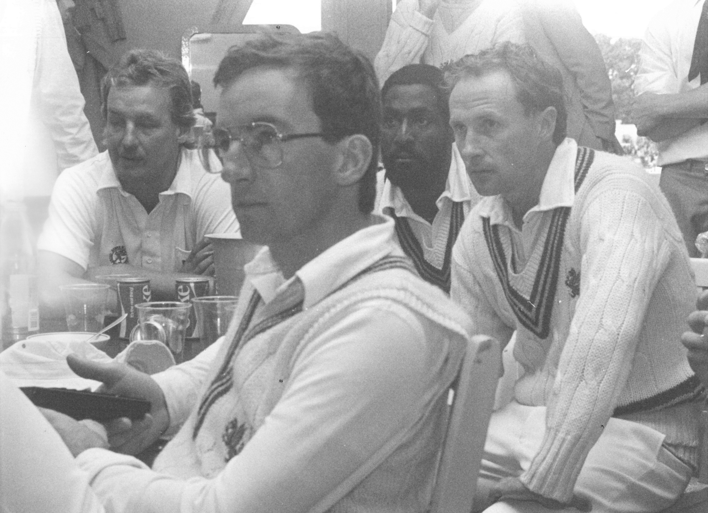 Peter Roebuck (front) and Somerset colleagues at Lord's in 1983