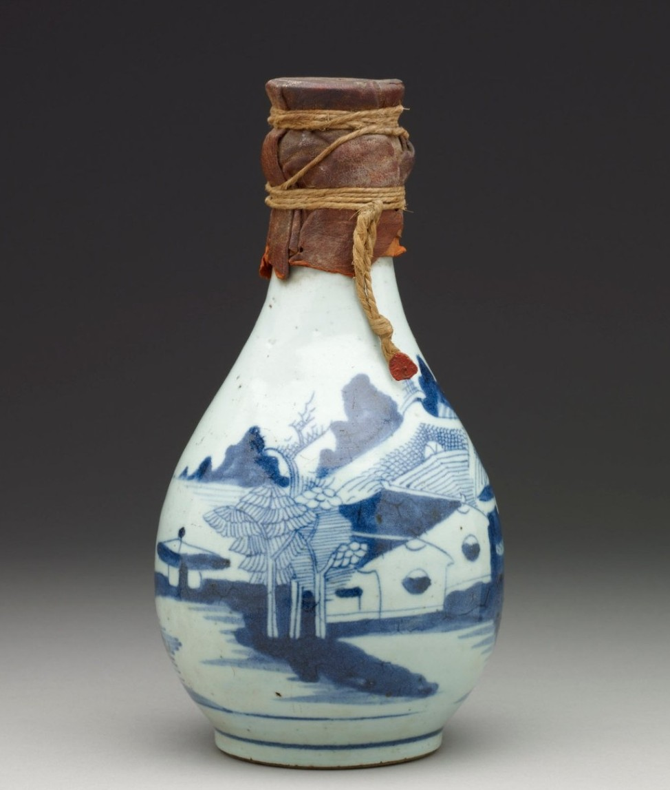 A 19th-century Chinese porcelain bottle containing Zamzam water