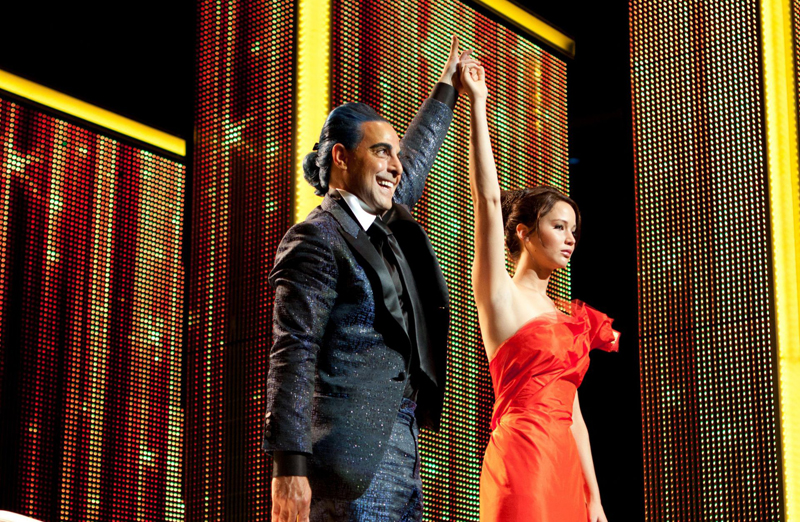 Katniss and Caesar (Stanley Tucci)