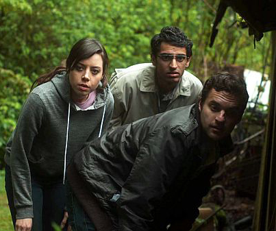 Darius (Aubrey Plaza) with uninspiring supporting players Arnau (Karan Soni) and Jeff (Jake Johnson)