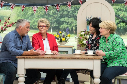 Paul Hollywood, Prue Leith, Noel Fielding, Sandi Toksvig in Great British Bake Off