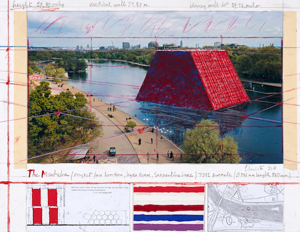 Christo, The Mastaba (Project for London, Hyde Park, Serpentine Lake), 2018; Photo: André Grossmann © 2018 Christo