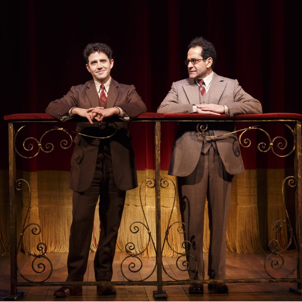 Santino Fontana (left) as Moss Hart in 'Act One' onstage