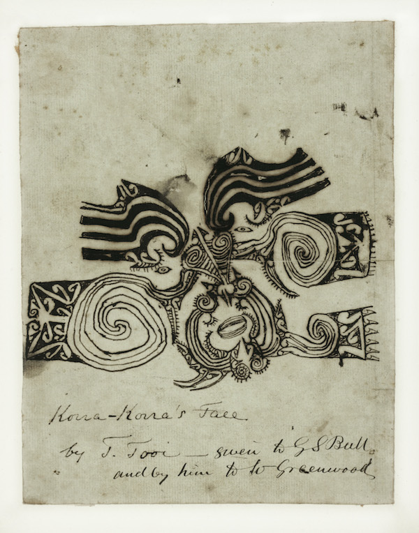 Tooi [Tuai], Drawing of Korokoro's moko, 1818 © Sir George Grey Special Collections, Auckland Libraries
