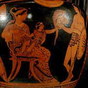 Hector's farewell to Andromache and Astyanax (Apulian red-figure column-crater, ca. 370–360 BC)