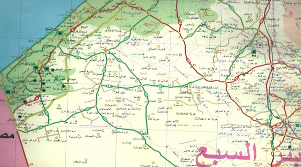 Map used for research by Adania Shibli depicting Gaza and the southern border with Egypt