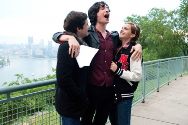 Charlie (Logan Lerman), Patrick (Ezra Miller) and Sam (Emma Watson) share good news.