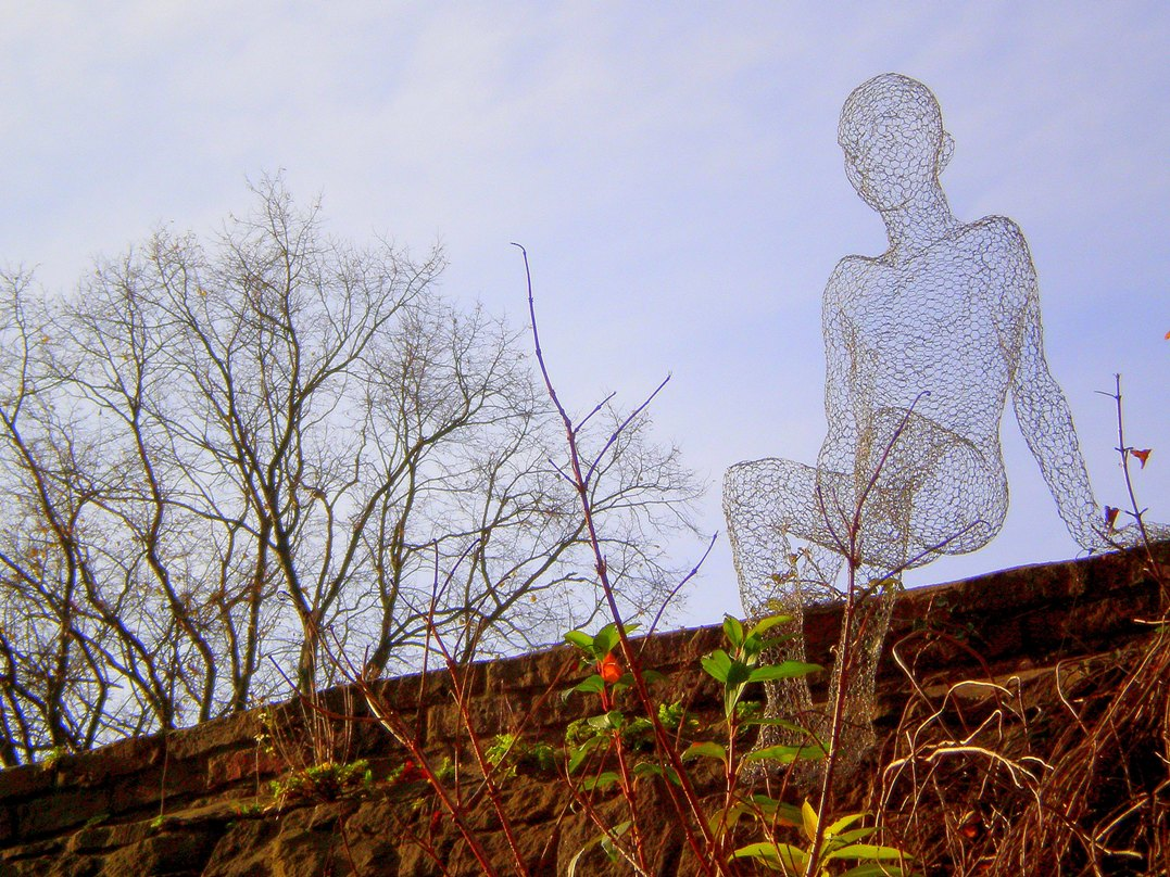 One of Les Voyageurs in the Durham LUMIERE festival by day