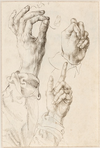 Albrecht Dürer, Three studies of the artist's left hand (recto), c. 1493-94, Albertina, Vienna