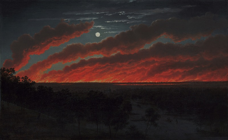 Eugene von Guérard, Bush Fire, 1859, Art Gallery of Ballarat