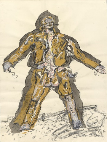 Georg Baselitz, Partisan, 1965 (charcoal, graphite and pastel); British Museum
