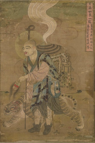Itinerant Monk Accompanied by a Tiger, 9th century