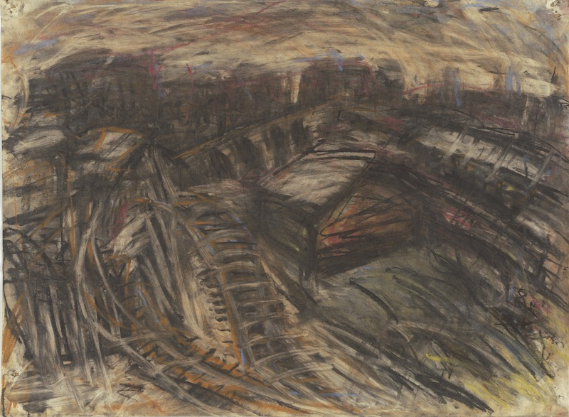 Leon Kossoff, York Way (charcoal and pastel on paper)