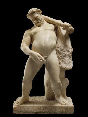 Marble statue of the drunken Hercules