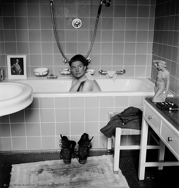 Lee Miller in Hitler's bathtub, Hitler's apartment, Munich, Germany 1945 By Lee Miller with David E. Scherman