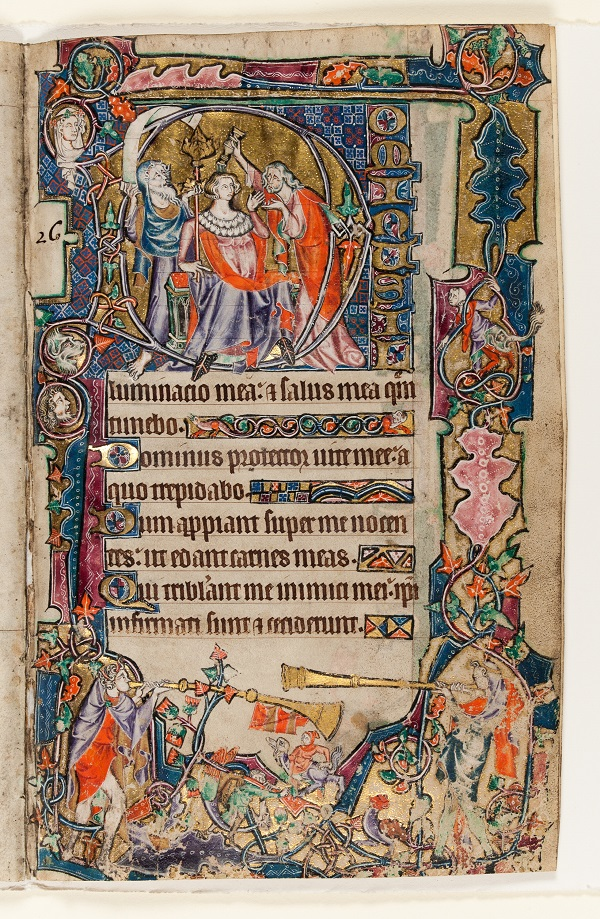 7. The Macclesfield Psalter, The Anointing of David, England, East Anglia, probably Norwich, c.1330-1340