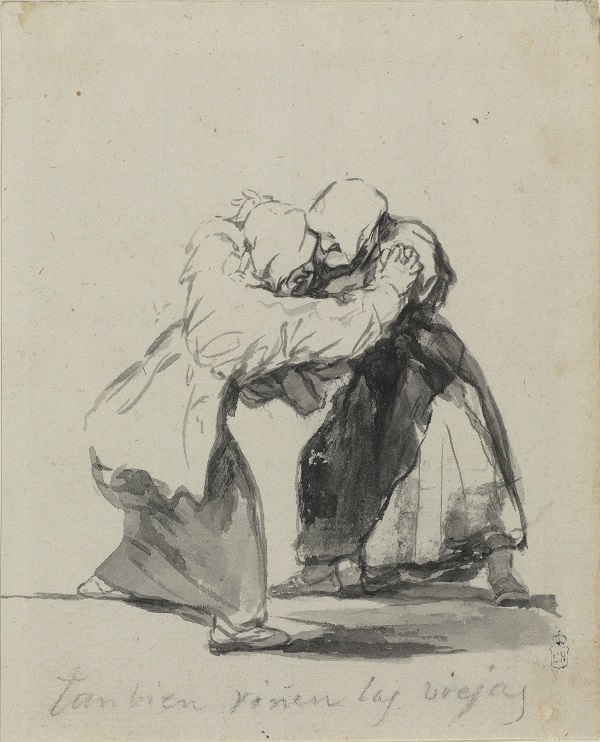 Francisco Goya, Old Women Fight Too, c. 1819-23 Brush, black and grey ink, Madrid, Biblioteca Nacional de Espana