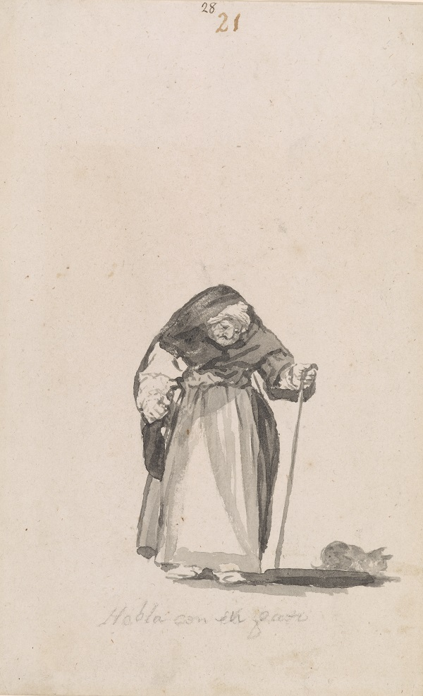Francisco Goya, She Talks with Her Cat, c.1819-23, Brush, black and grey ink, New York, The Moran Library and Museum, Thaw Collection