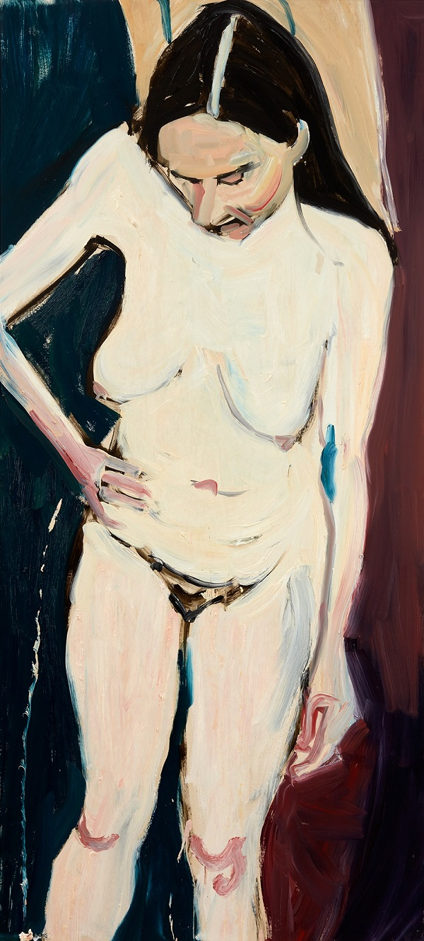 Chantal Joffe, Self-Portrait with Hand on Hip, 2016. Oil on board. © Chantal Joffe, courtesy the artist and Victoria Miro, London
