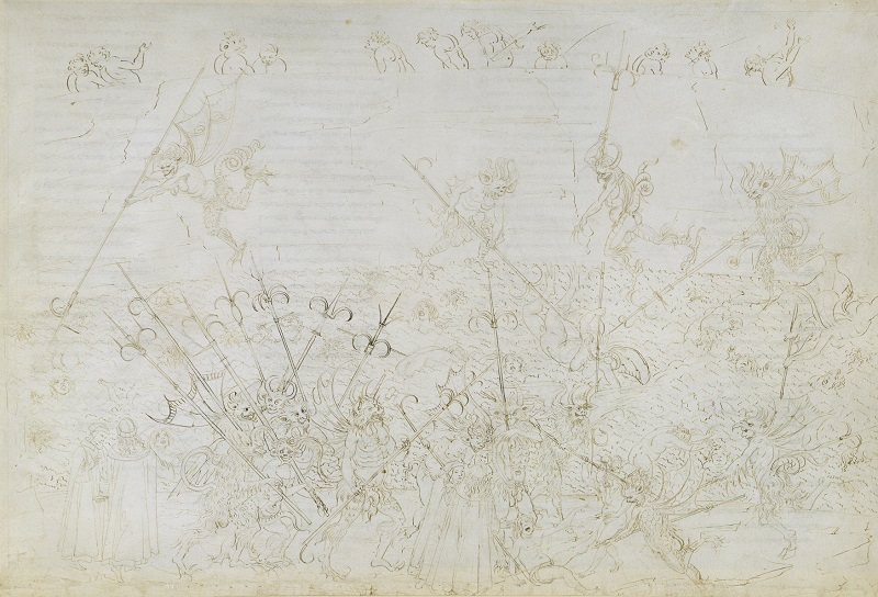 Sandro Botticelli Punishment of the corrupt in the eighth circle (Divine Comedy, Inferno XXII), ca. 1481-1495, Pen and brown ink over metal pen on parchment, 32,9 x 47,1 cm © Staatliche Museen zu Berlin, Kupferstichkabinett / Philipp Allard