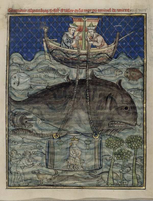 Alexander the Great visits the bottom of the sea in a diving-bell (in the Romance of Alexander), Northern France, around 1290–1300 book illumination and gold on parchment, 26,0 x 18,8 cm © Staatliche Museen zu Berlin, Kupferstichkabinett / Jörg P. Anders