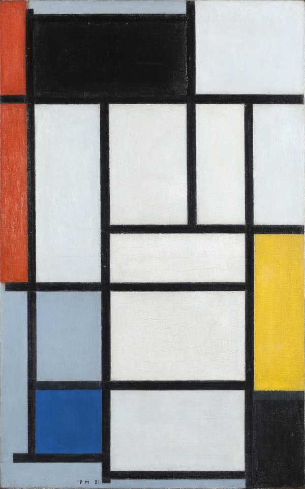 Composition with red, black, yellow, blue and gray, 1921 Oil on canvas, Gemeentemuseum Den Haag