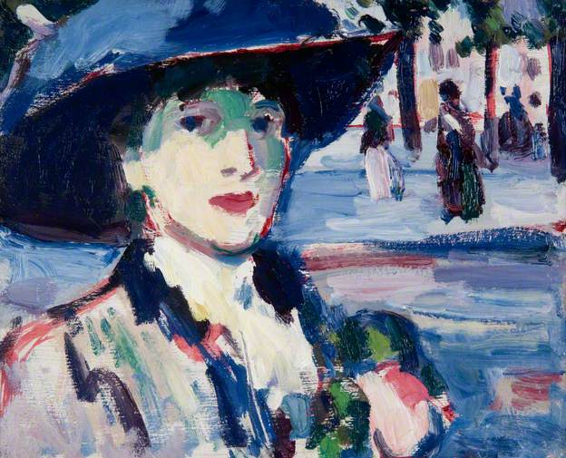 JD Fergusson, 'Anne Estelle Rice in Paris (Closerie des lilas)' 1907