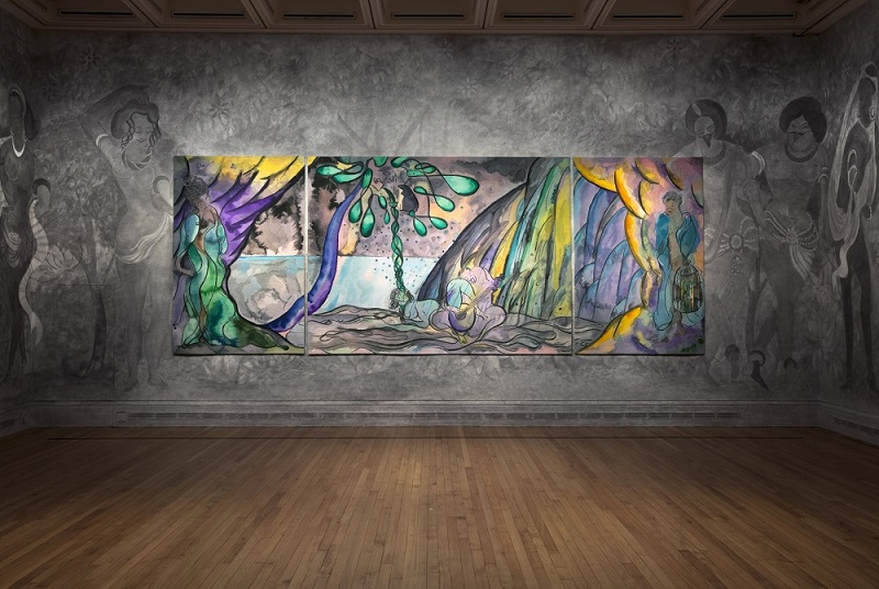 Chris Ofili, The Caged Bird's Song, 2014-17, © Chris Ofili. Courtesy the artist and Victoria Miro, London, The Clothworkers' Company and Dovecot Tapestry Studio, Edinburgh. Photography: Gautier Deblonde