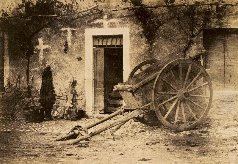 Paul Marès,  Ox cart, Brittany,  c 1857,  photograph, salted paper print from a paper negative © Wilson Centre for Photography