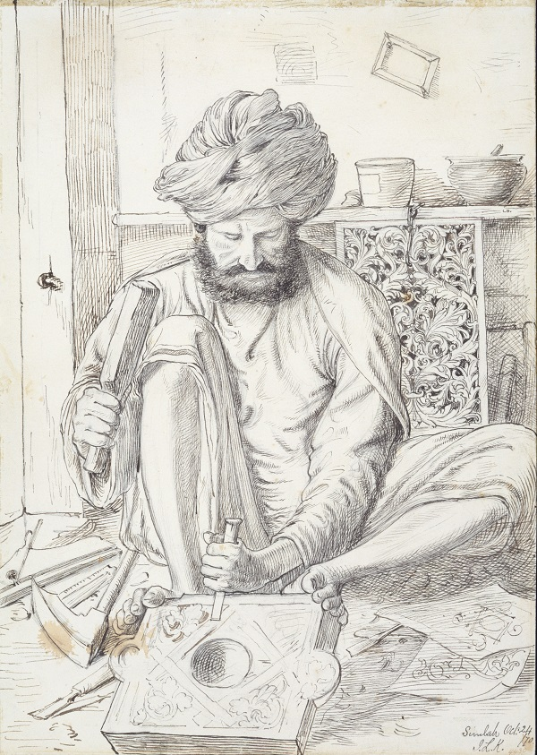 A Wood Carver, from a collection depicting craftsmen of the North-West Provinces of British India, by John Lockwood Kipling, 1870 © Victoria and Albert Museum, London