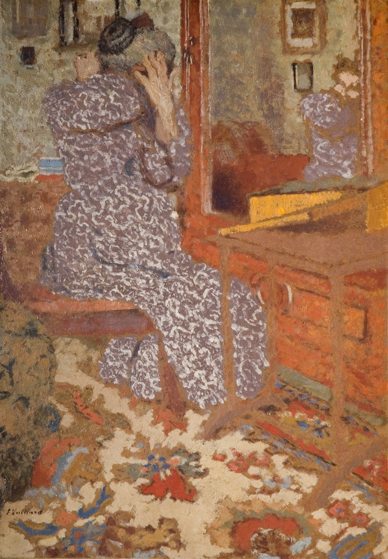 Madame Vuillard Arranging her Hair, 1900, Oil on cardboard, laid on panel, The Barber Institute of Fine Arts, University of Birmingham© The Henry Barber Trust, The Barber Institute of Fine Arts, University of Birmingham.