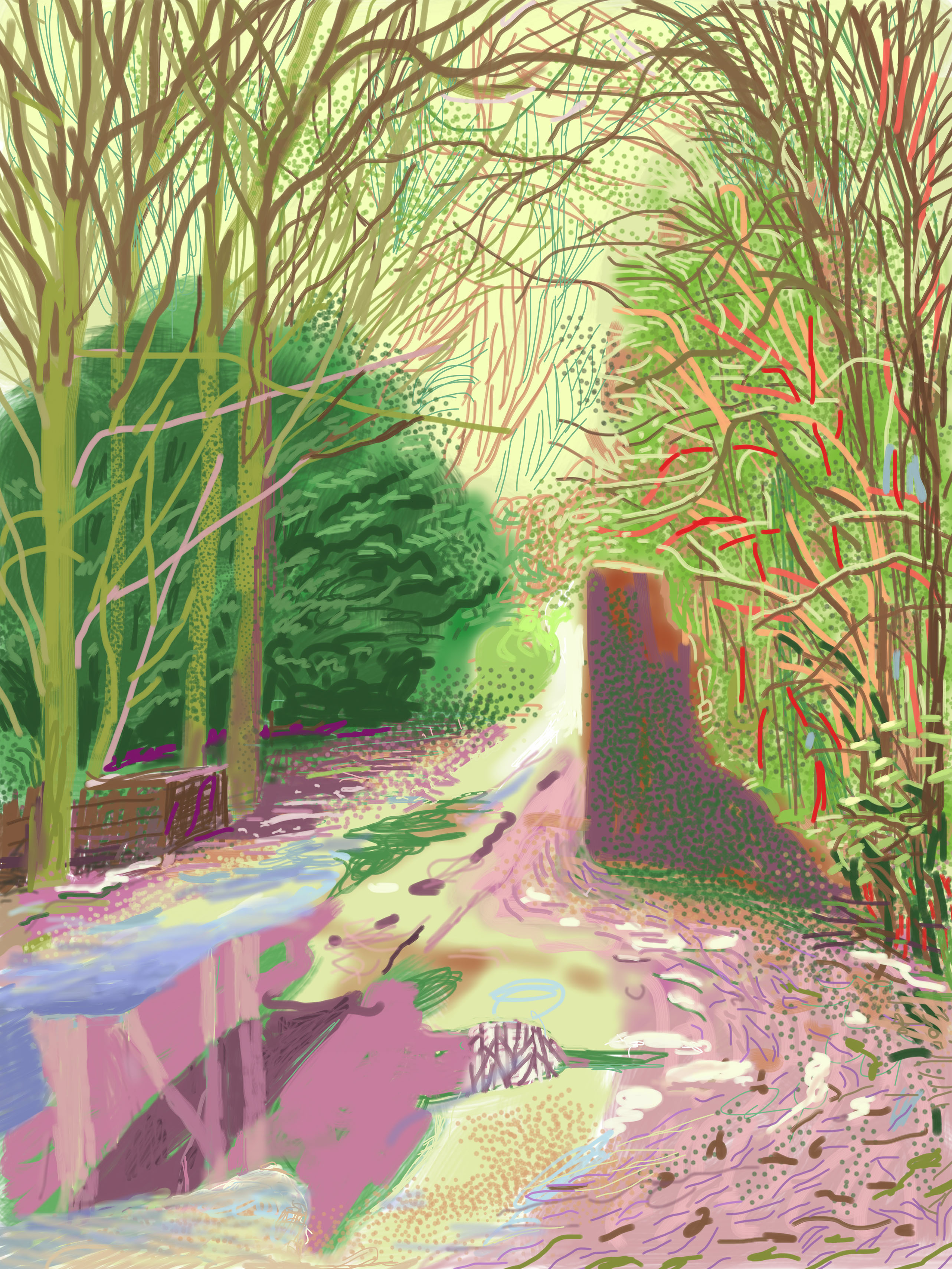 David Hockney, The Arrival of Spring in Woldgate, East Yorkshire in 2011 (twenty eleven) – 2 January