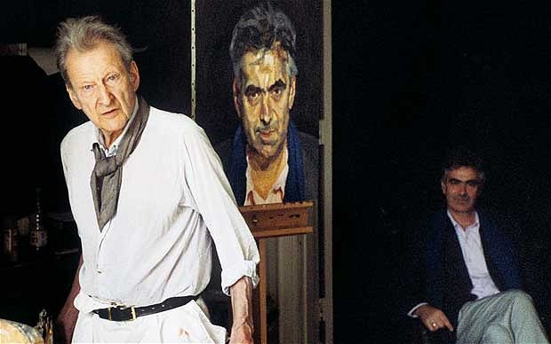 Lucian Freud with Martin Gayford and his portrait of Martin Gayford