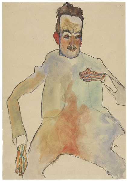 Egon Schiele, The Cellist, 1910 Black crayon and watercolour on packing paper, 44.7 x 31.2 cm The Albertina Museum, Vienna Exhibition organised by the Royal Academy of Arts, London and the Albertina Museum, Vienna