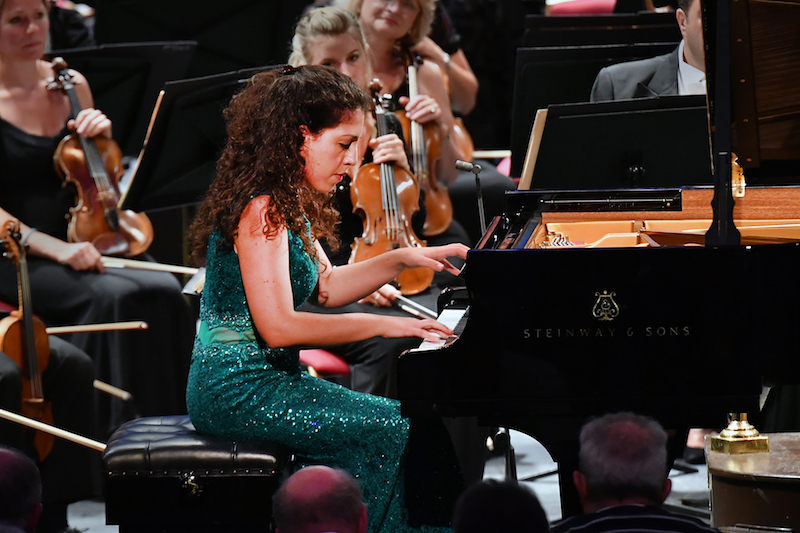 Pianist Beatrice Rana performs Schumann's Piano Concerto in A minor with the BBC Symphony Orchestra conducted by Sir Andrew Davis at the BBC Proms at the Royal Albert Hall