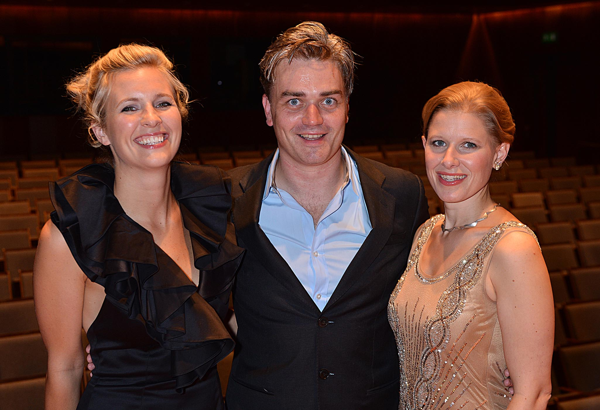 Alison Balsom, Edward Gardner and Sally Matthews at the opening of Milton Court