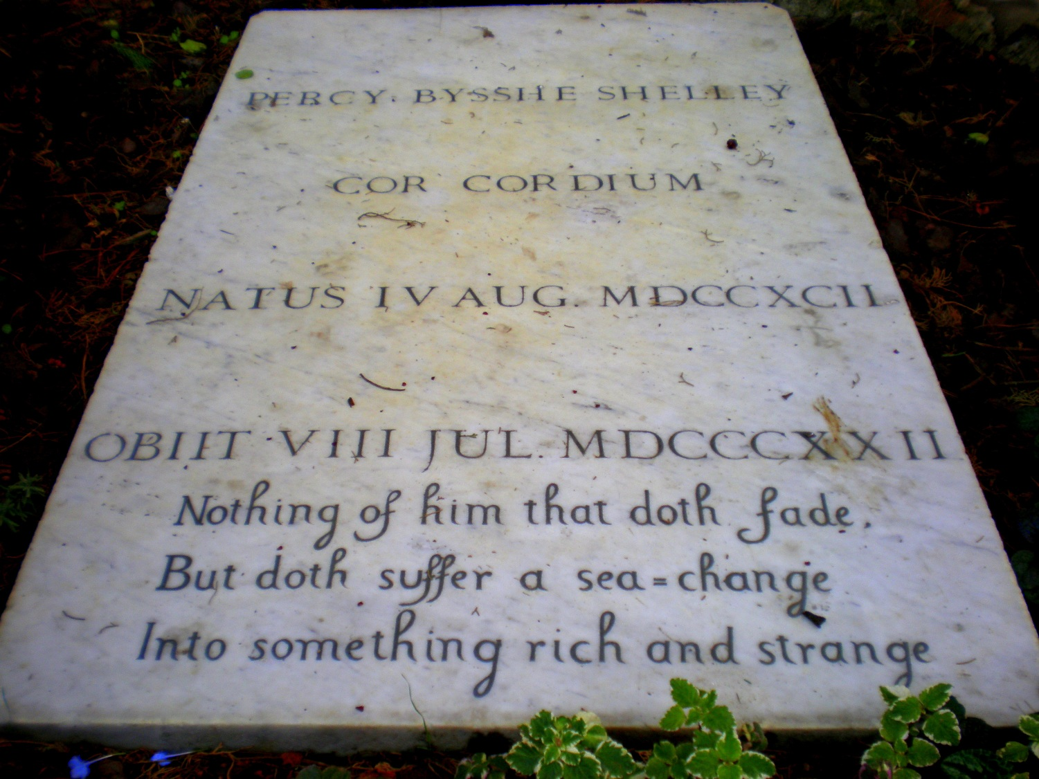 Shelley's gravestone in the Protestant Cemetery of Rome c David Nice