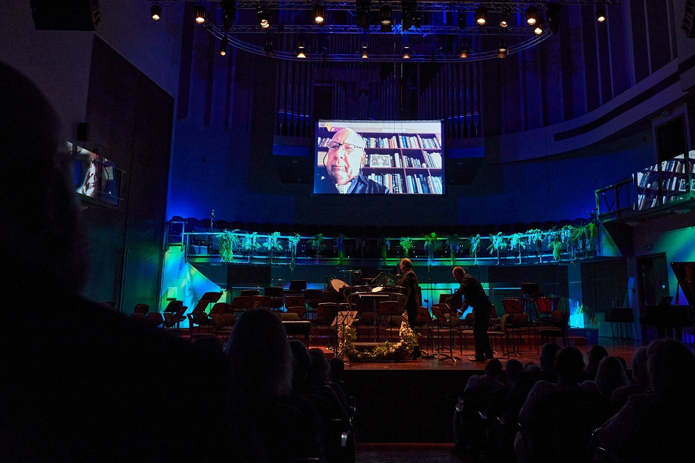 Neeme Jarvi on screen at the Parnu Music Festival